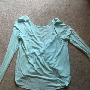 Open back teal long sleeve top